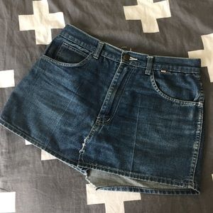 Vintage Denim Jean Skirt with Star Pockets!